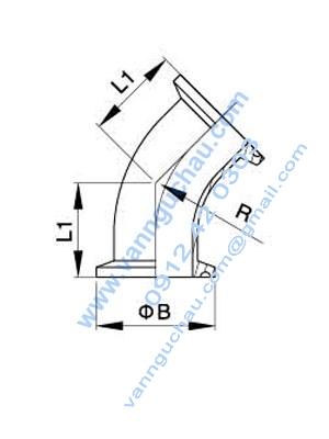 Cút/co clamp (kẹp) 45 độ
